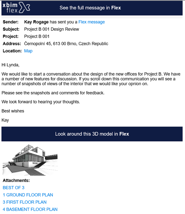 How a Flex message looks in your email
